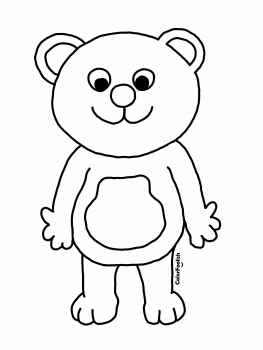 Coloring page of a standing teddy bear