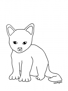 Coloring page of a sweet kitten