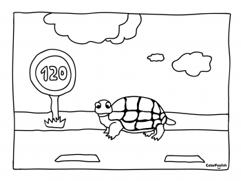 Coloring page of a turtle under the speed limit