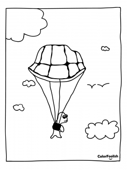 Coloring page of a turtle with a parachute