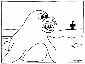 Coloring page of a walrus on the beach
