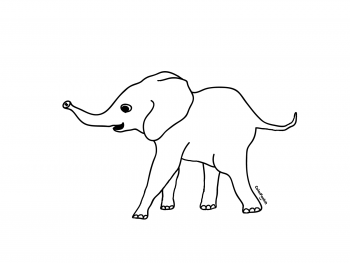 Coloring page of a young baby elephant